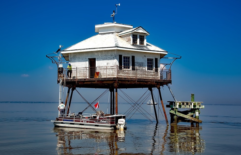 Middle Bay Lighthouse in Alabama's Mobile Bay