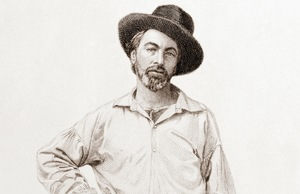 "Steel engraving of Walt Whitman used for the frontispiece of the first edition of ""Leaves of Grass"""