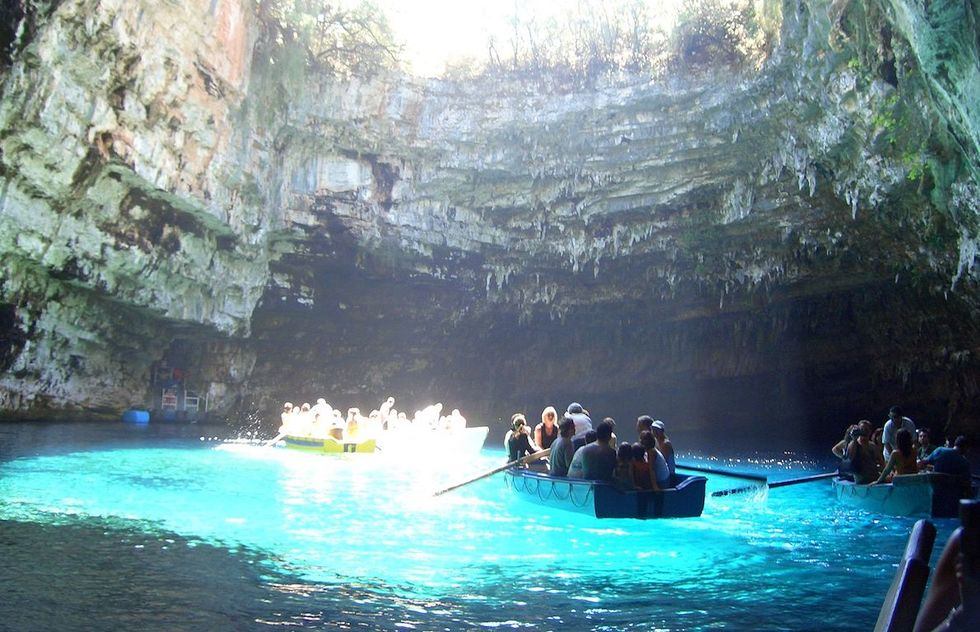 Rowing in the waters of the Melissani Lake Cave