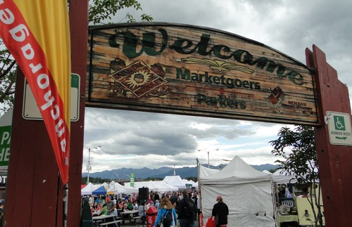 The entrance to the Anchorage Marketplace and Festival