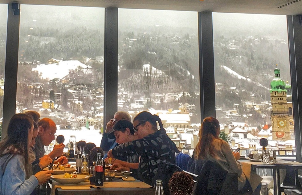 Diners at Lichtblick, a top restaurant in Innsbruck.