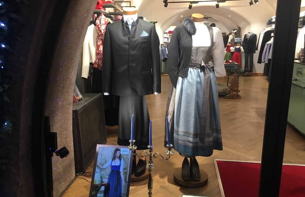 Traditional Austrian dress in the windor of a boutique in Innsbruck