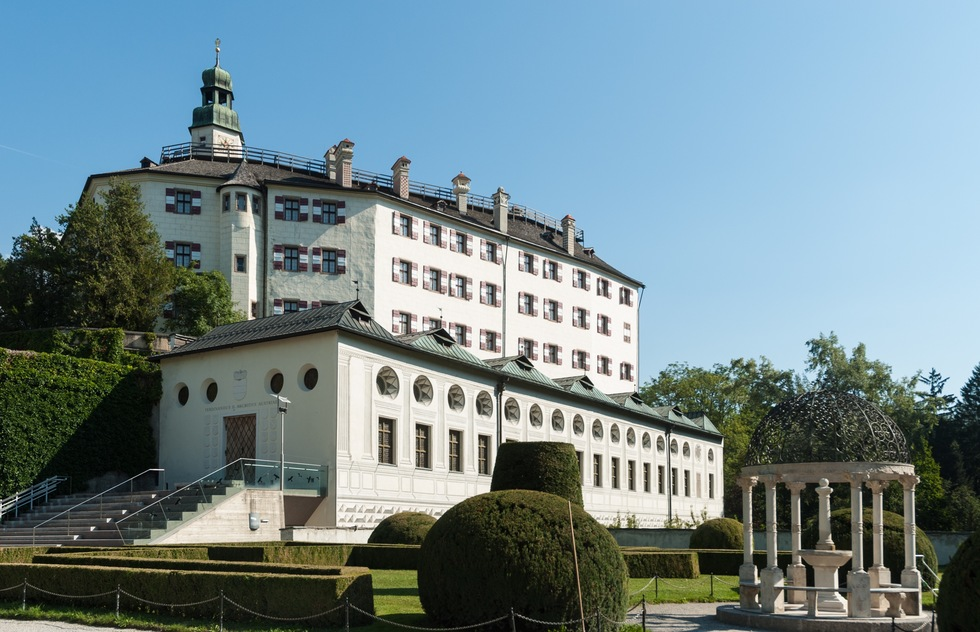 An exterior view of Ambras Castle
