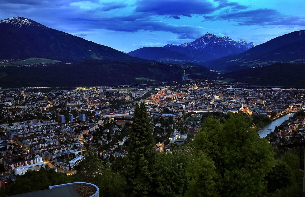 Innsbruck, Austria at night