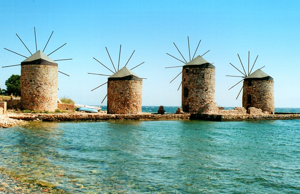 Windmills in Chios, Greece