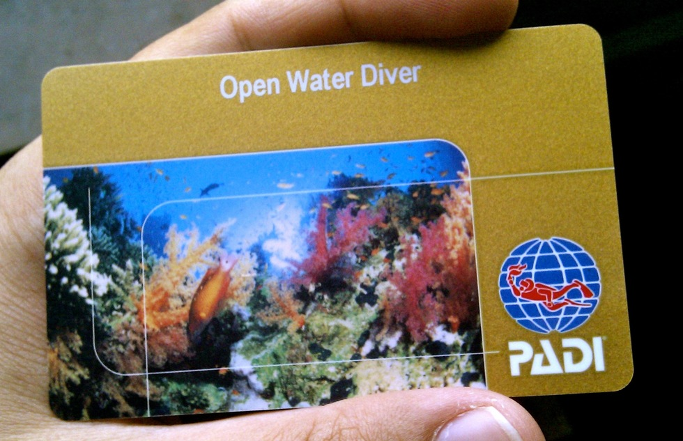 Open-water diving certification card from PADI