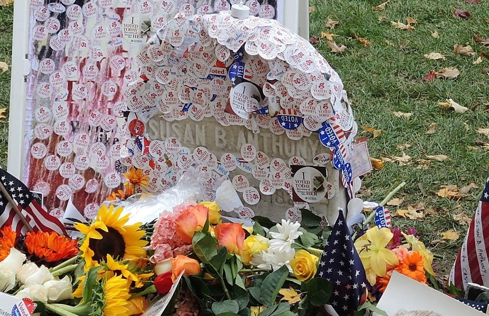 "Susan B. Anthony's gravesite, covered in ""I Voted"" stickers after the 2016 presidential election, in Mount Hope Cemetery in Rochester, New York"