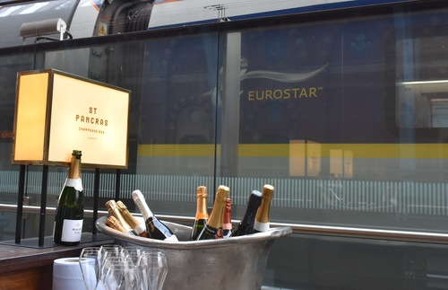 Champagne bar at St. Pancras railway station in London