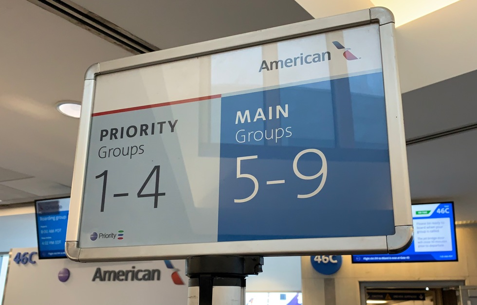 American Airlines sign for boarding group numbers