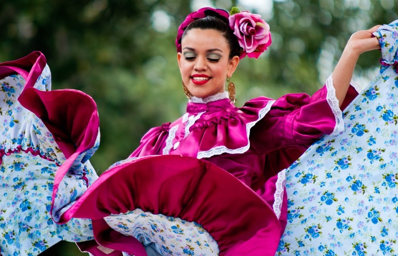 Dancer at a street festival on Olvera Street in Los Angeles