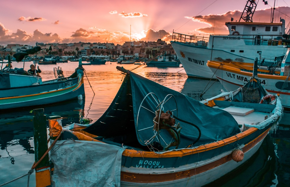 The harbor in Marsaxlokk, Malta