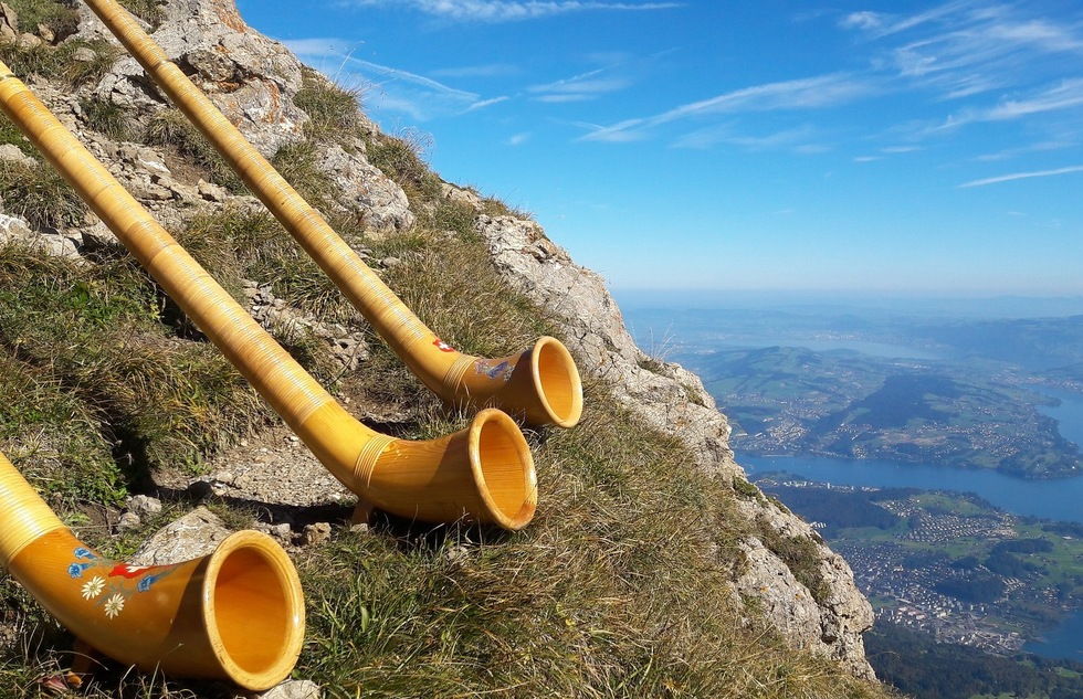 Alpenhorns over Lake Lucerne in Switzerland