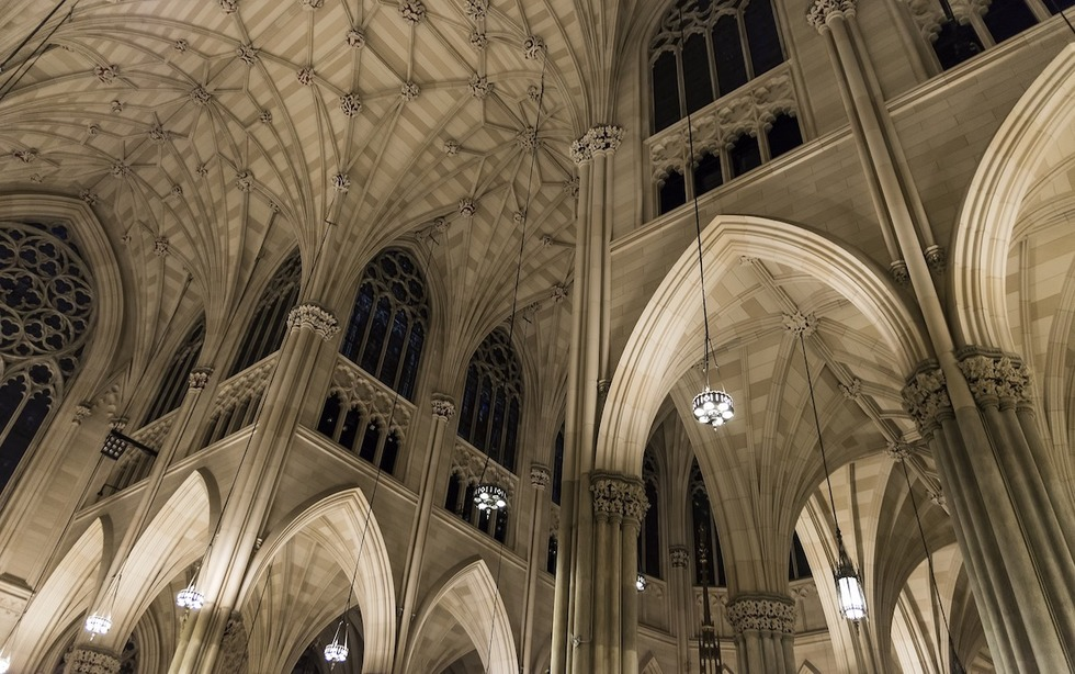 The vast, vaulting ceiling of St. Patrick's Cathedral