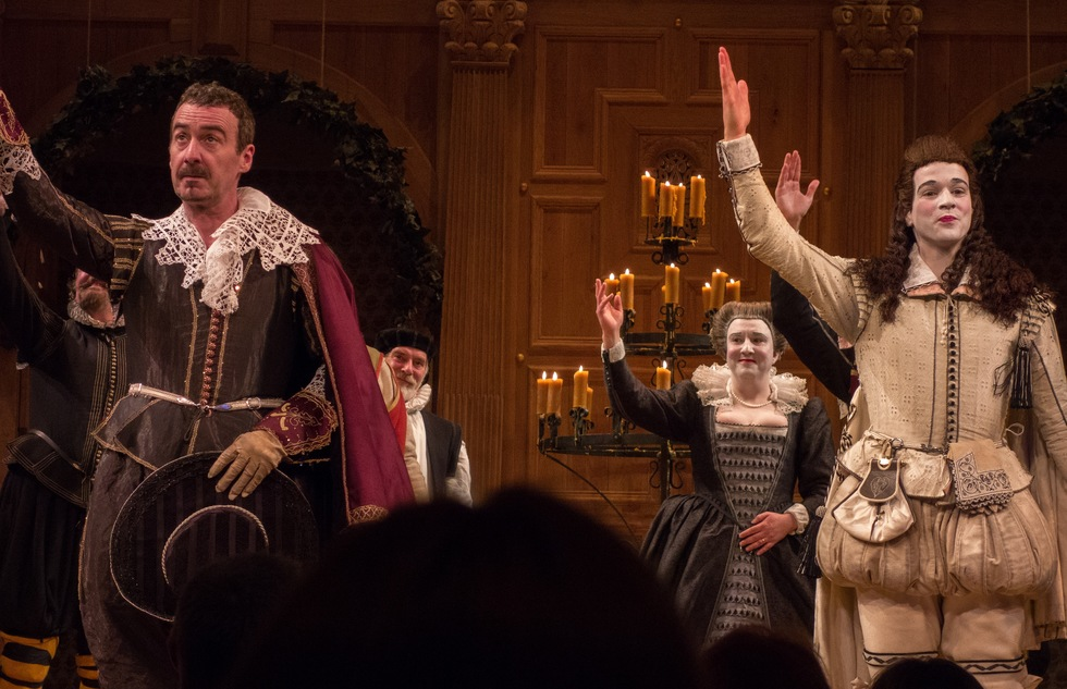 "Curtain call at a 2013 performance of ""Twelfth Night"" at the Belasco Theatre in New York City"