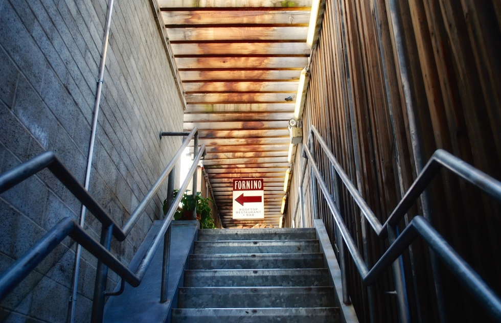 Stairwell to Fornino at Pier 6 in New York City's Brooklyn Bridge Park