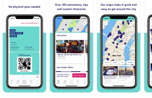Screenshots of the New York Pass mobile app