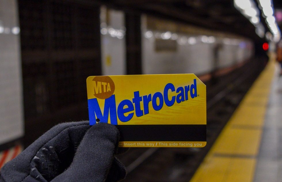 MetroCard public transit pass in New York City
