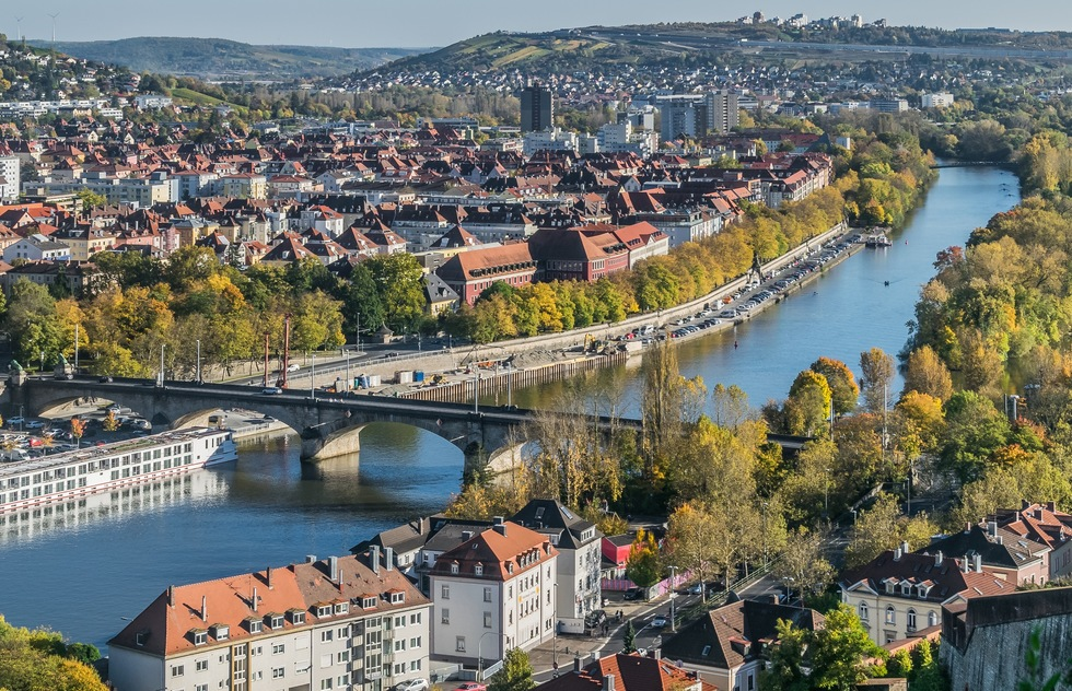 The Main river cuts through Würzburg, Germany