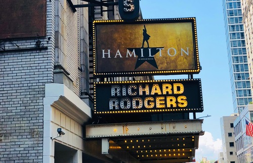 """Hamilton"" marquee at the Richard Rodgers Theatre in New York City"
