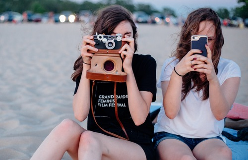 Taking photos on a beach in Holland, Michigan