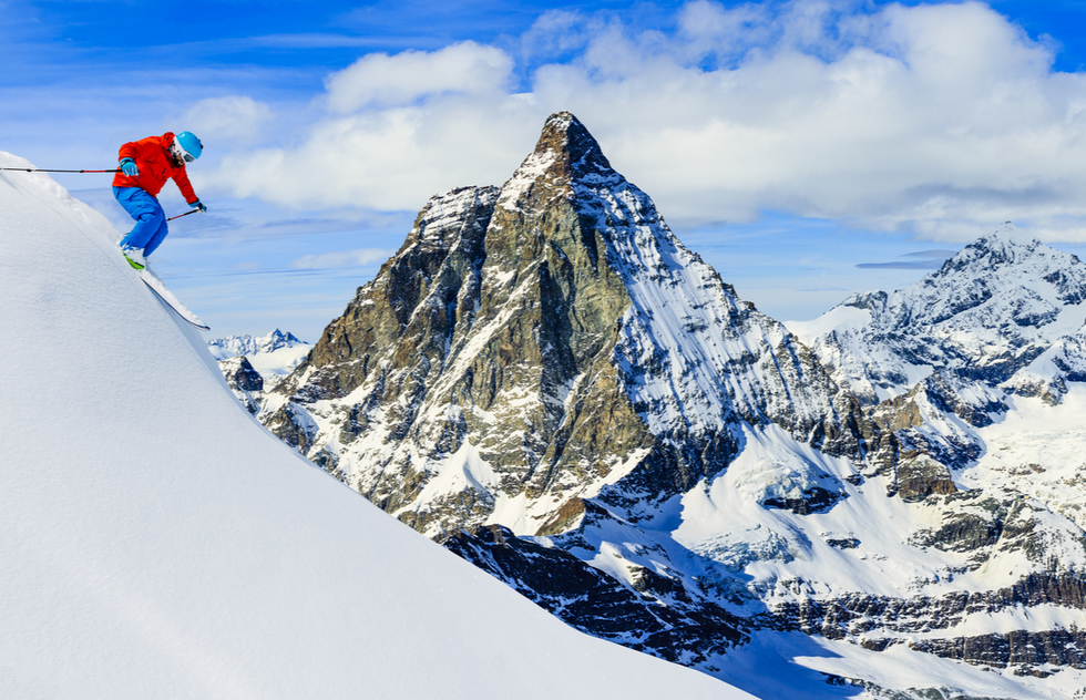 Skiing in front of the Matterhorn near Zermatt, Switzerland