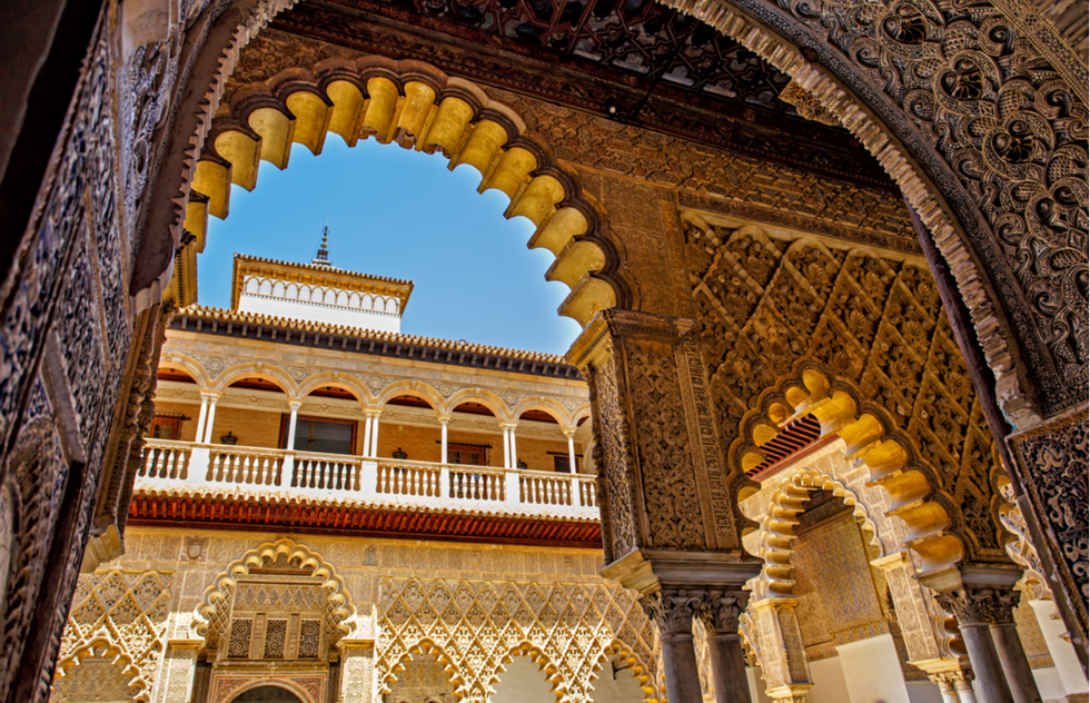 Alcázar palace in Seville, Spain