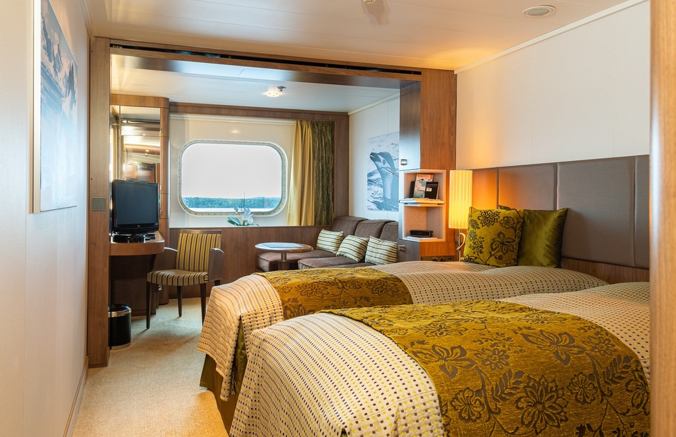 What room size and amenities to expect on board an expedition cruise