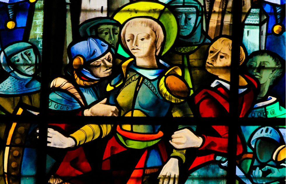 Stained glass depicting Joan of Arc at the cathedral in Rouen, France