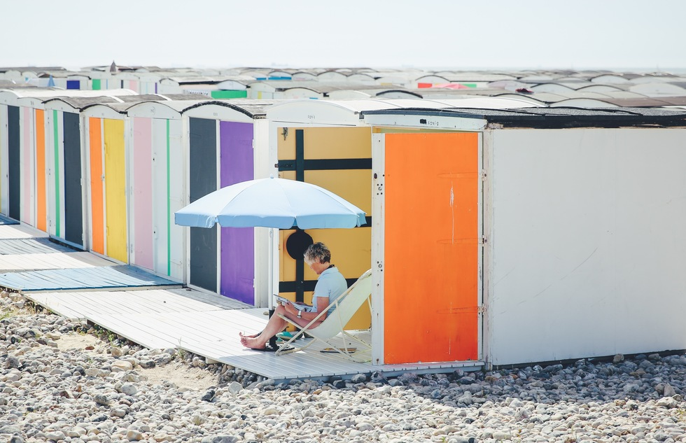 Colorful beach huts in Le Havre, France