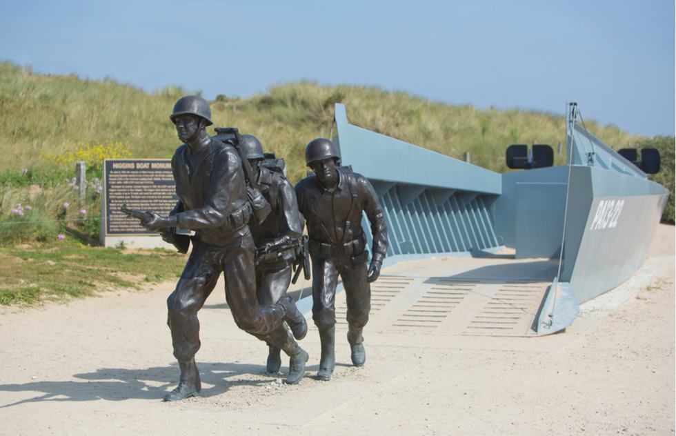 Higgins Boat Monument near Utah Beach in Normandy, France