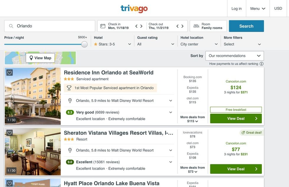 Best Hotel Reservation Websites: 7: Trivago.com