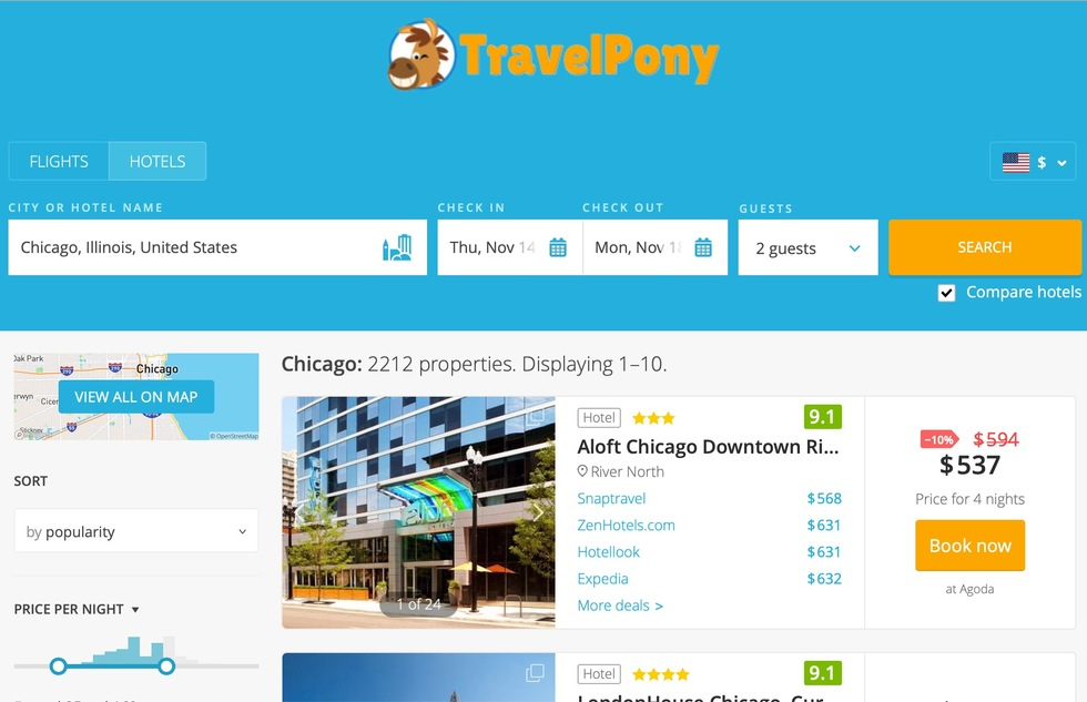 Best Hotel Reservation Websites: 8: TravelPony.com