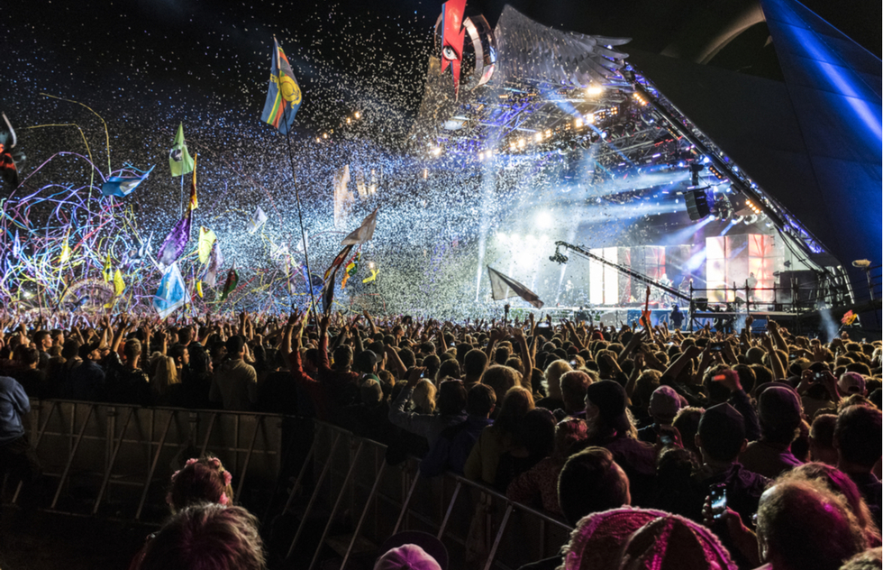 Concert at the Glastonbury Festival in Somerset, England