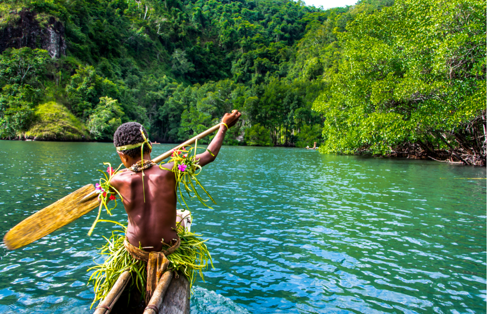 Canoeing in Papua New Guinea