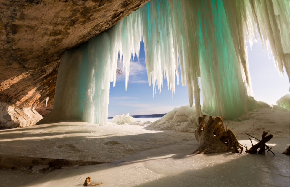 Frozen waterfall along Michigan's Pictured Rocks National Lakeshore