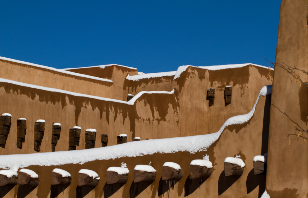 Snow on an adobe building in Santa Fe