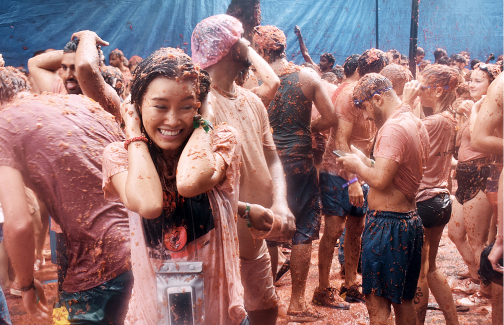 La Tomatina tomato fight in Buñol, Spain