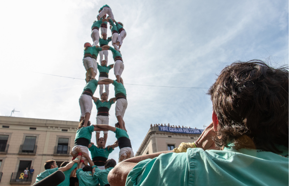 Human tower at La Mercè festival in Barcelona