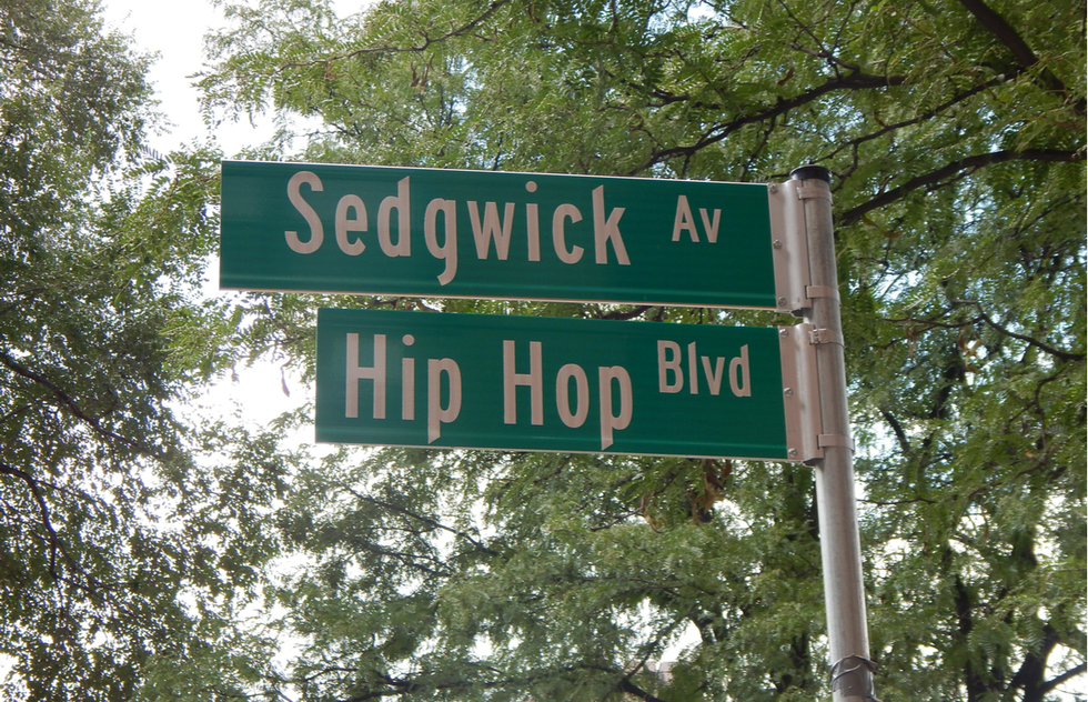 Hip Hop Blvd. street sign in the South Bronx of New York City