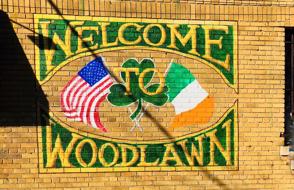 Welcome to Woodlawn sign in the Bronx, New York City