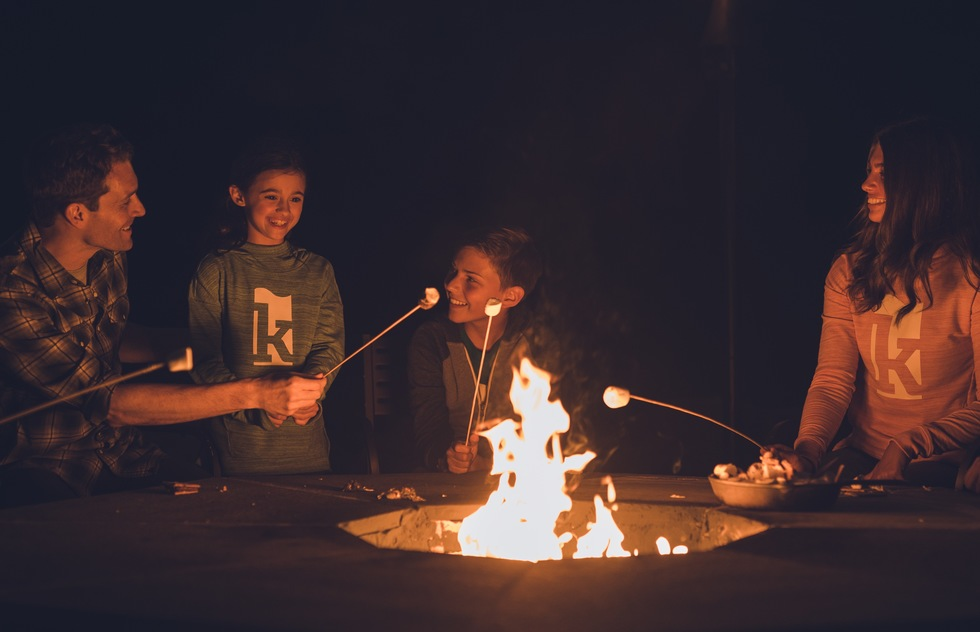 Roasting marshmallows at the Kartrite Resort & Indoor Waterpark in Monticello, New York