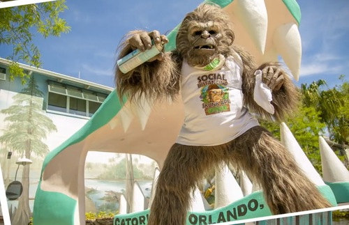 Meet Orlando's New Safety Mascot: Social Distancing Skunk Ape at Gatorland | Frommer's
