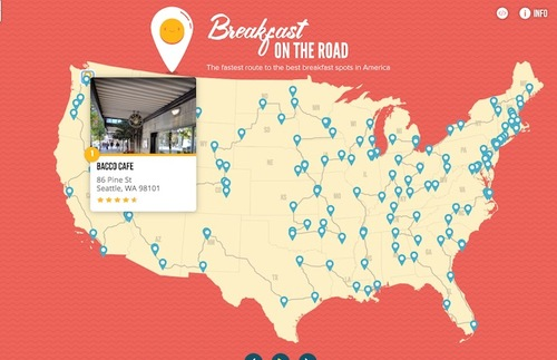 Road Trip Essential: Map of Fastest Route to USA's Top Breakfast Spots | Frommer's