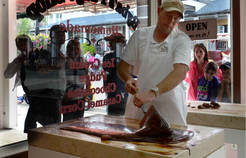 America's Best Local Sweets: making fudge at Ryba's Fudge Shops on Michigan's Mackinac Island