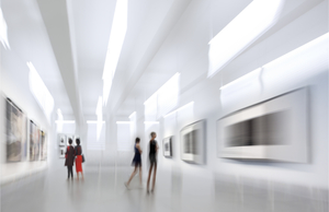 A blurry photo of a museum gallery