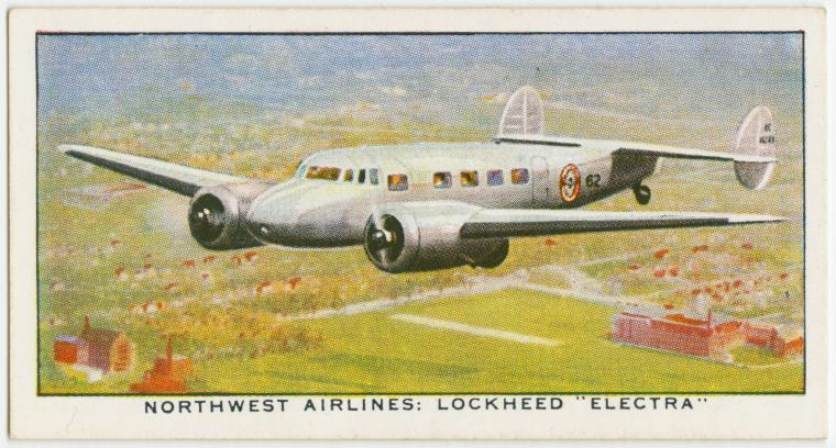 "Air Liners of the 1930s on trading cards: Northwest Airlines: Lockheed ""Electra"" (U.S.A.)"