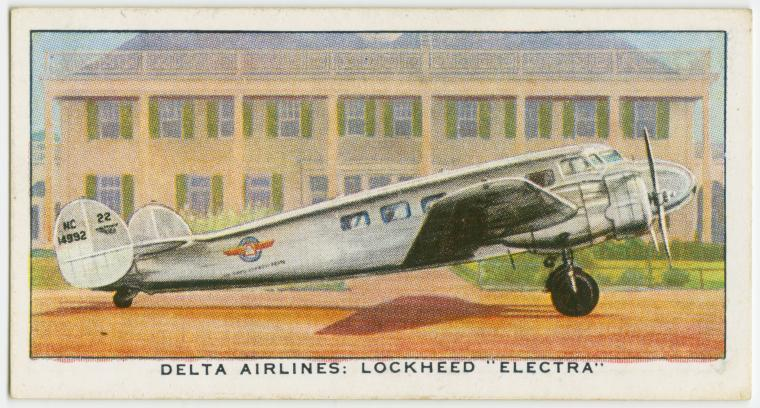 "Air Liners of the 1930s on trading cards: Delta Airlines: Lockheed ""Electra"""