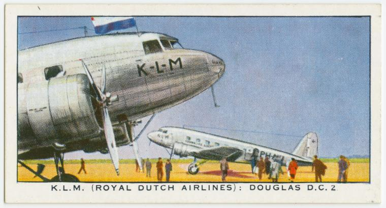 Air Liners of the 1930s on trading cards: KLM Douglas D.C. 2