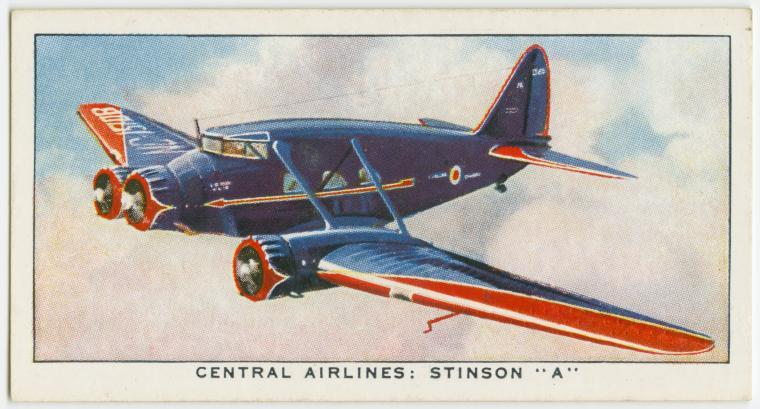 "Air Liners of the 1930s on trading cards: Central Airlines, Stinson ""A"""