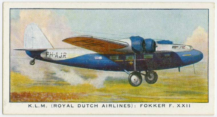 Air Liners of the 1930s on trading cards: Players Cigarette Card, circa 1936: KLM Fokker F. XXII (Holland)